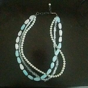 Jewelry - Blue bead, pearl necklace
